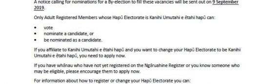Notice of intention to call for nominations for Trustee By-election – Kanihi Umutahi me ētahi hapū
